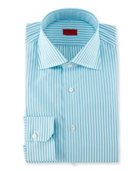 Isaia Bengal Stripe Dress Shirt Aqua Blue White