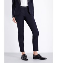Claudie Pierlot Piccolo Slim Fit High Rise Twill Trousers Marine