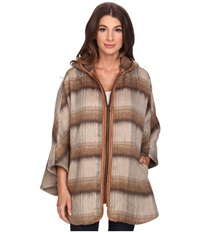 Nydj Abbey Road Plaid Cape Vicuna Women's Coat Brown