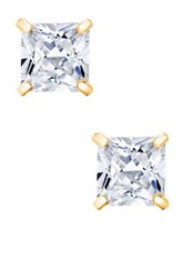 14K Yellow Gold 4Mm Princess Cut Swarovski Crystal Accented Earrings