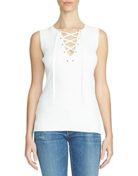 1.State Lace Up Sleeveless Sweater White
