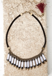 Forever 21 Faux Stone Statement Necklace Black Grey