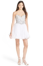 Mac Duggal Embellished Ruffle Skirt Skater Dress White