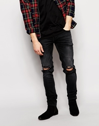 Religion Noize Skinny Fit Washed Black Jeans With Cut Outs Washedblack