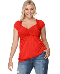 Soprano Plus Size Cap Sleeve Ruched Empire Top Bright Red