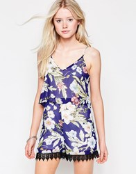 Daisy Street Playsuit In Tropical Floral Print With Crochet Hem Blue