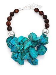 Nest Turquoise Jasper And Ebony Wood Cluster Beaded Statement Necklace