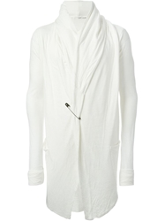 Isabel Benenato Safety Pin Hooded Cardigan White