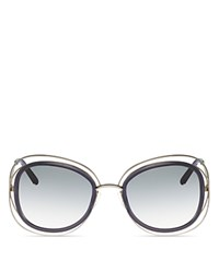Chloe Carlina Rounded Square Sunglasses 56Mm Gold Transparent Gray Gradient Lens