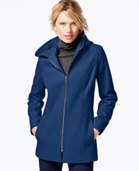 London Fog Petite Hooded Zipper Front Coat River Blue