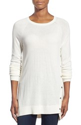 Petite Women's Halogen Asymmetrical Snap Detail Tunic Ivory Oatmeal Colorblock