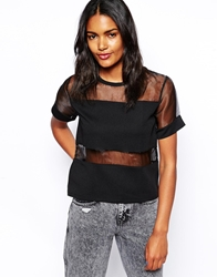 Daisy Street T Shirt With Sheer Inserts