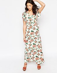 Motel Violeta Maxi Dress With Split Side In Floral Print Opium Cream