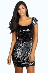 Boohoo Woven Two Tone Sequin Bodycon Dress Pewter