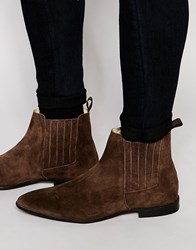 Asos Chelsea Boots In Brown Suede With Concealed Elastic Brown