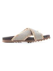 Brunello Cucinelli Fringed Crossover Strap Sandals Nude And Neutrals