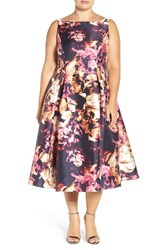 Adrianna Papell Plus Size Women's Floral Print Mikado Midi Dress