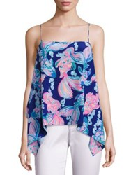 Lilly Pulitzer Graphic Sleeveless Silk Top Blue