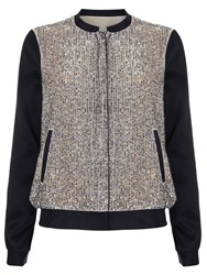 Phase Eight Sequin Bomber Jacket Bronze