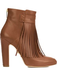 Maiyet 'Blake' Fringe Heeled Booties Brown