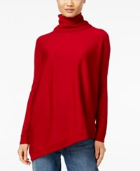 Eileen Fisher Wool Asymmetrical Turtleneck Sweater China Red