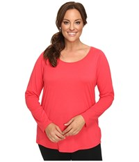 Lucy Extended Long Sleeve Workout Tee Passion Pink Women's Workout Red