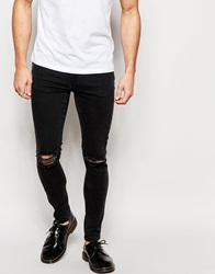 Brooklyn Supply Co. Brooklyn Supply Co Jeans Super Skinny Fit Washed Black Ripped Knee Washedblackripped