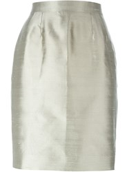 Christian Dior Vintage Short Pencil Skirt Grey