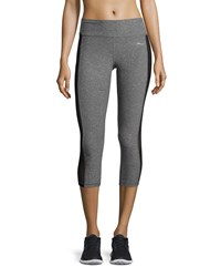 X By Gottex Colorblock Capri Performance Leggings Charcoal Black