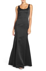 Hayley Paige Occasions Women's Back Cutout Scoop Neck Satin Trumpet Gown Black