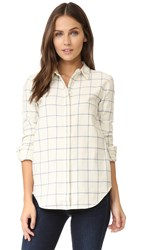 Ayr The Clean Shirt Cream Blue Plaid