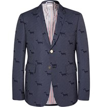 Thom Browne Navy Hector Woven Blazer Blue