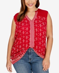 Lucky Brand Plus Size Sleeveless Printed Peasant Top Red