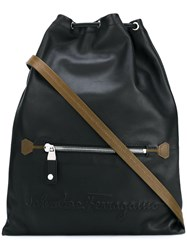 Salvatore Ferragamo Drawstring Fastening Backpack Black