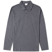 Sunspel Long Sleeve Heavyweight Polo Grey