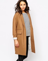 Sessun Harry Longline Coat In Camel