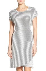 Petite Women's Caslon 'Growover' Jersey T Shirt Dress Grey Grey Stripe