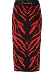 Versace Jeans Zebra Intarsia Pencil Skirt Black