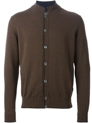 Eleventy Elbow Patch Cardigan Brown