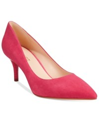 Nine West Margot Mid Heel Pumps Women's Shoes Dark Pink Suede
