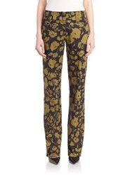 Michael Kors Floral Printed Stretch Cotton Trousers Black Army