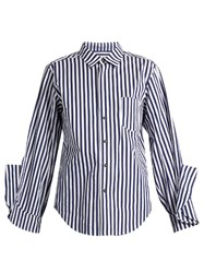 Toga Ruffled Cuff Striped Cotton Shirt Blue White