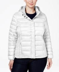 32 Degrees Plus Size Hooded Packable Down Puffer Coat Winter White
