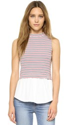 English Factory Stripe Layer Top Red Navy