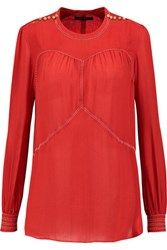 Isabel Marant Beaded Silk Crepe De Chine Blouse Tomato Red