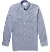 Alfred Dunhill Billy Button Down Collar Checked Cotton Shirt Blue