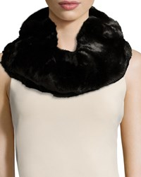 Neiman Marcus Faux Fur Double Loop Neck Warmer Black