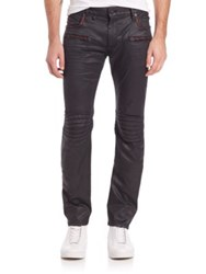 Robin's Jeans Embellished And Coated Straight Leg Jeans Black