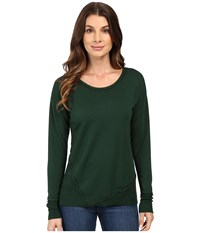 Mod O Doc Cotton Spandex French Terry Asymmetrical Seamed Pullover W Contrast Rib Cypress Women's Clothing Green