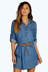 Boohoo Denim Belted Button Front Shirt Dress Mid Blue